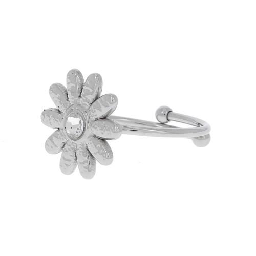 Bague fleur strass argentée