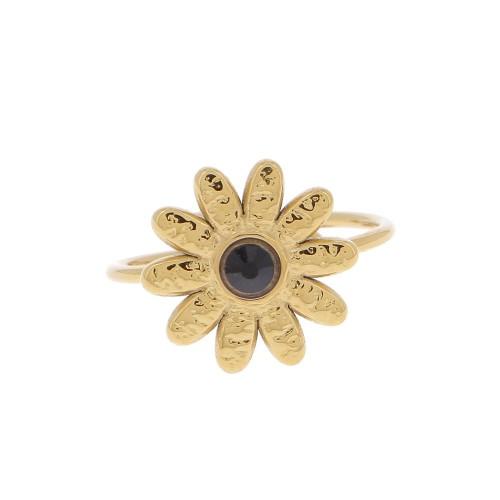 Bague Fleur strass dorée
